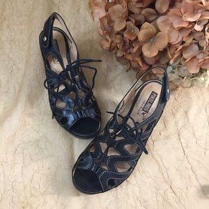 PIKOLINOS   Black, lace-up sandals SZ 6